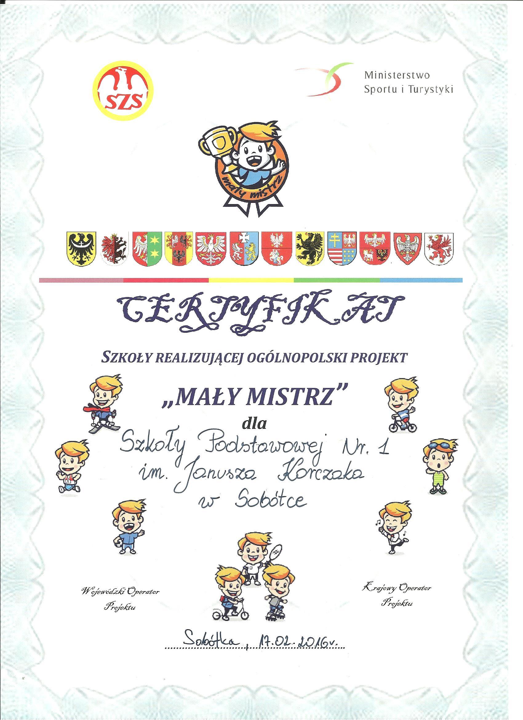 certyfikat maly mistrz