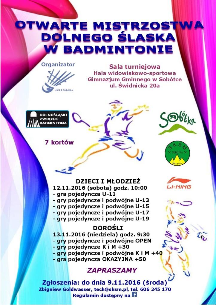 plakat mistrzostwa Badmintona Sobótka